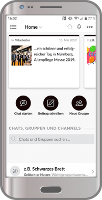 Mitarbeiter App Ansicht der Startseite mit Infos auf dem schwarzen Brett