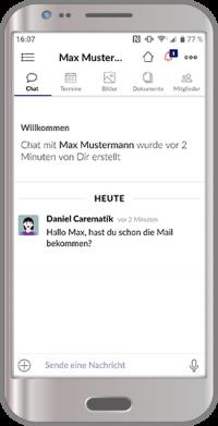 Mitarbeiter App Kommunikation interner Nachrichten Chat